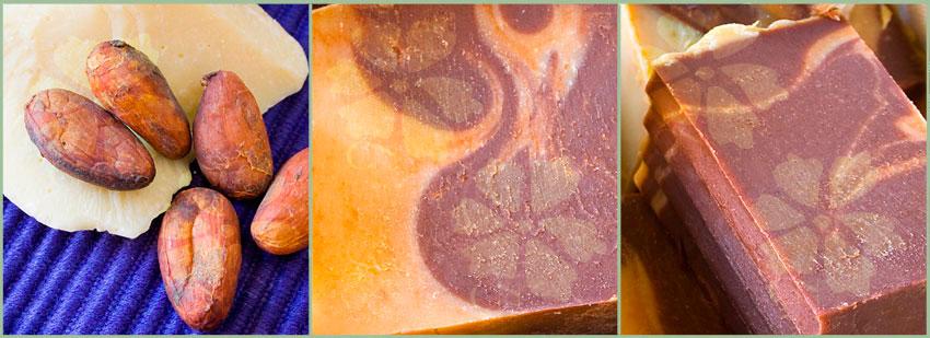 Jabón artesano y natural de manteca de Cacao y Chocolate con leche en polvo de Cosmética Natural 100x100