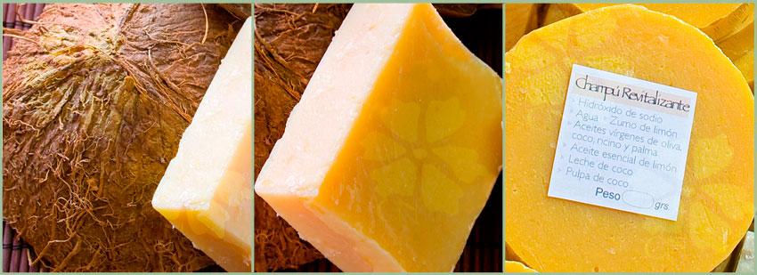 Champú Sólido artesano y natural revitalizante de Coco y Limón de Cosmética Natural 100x100