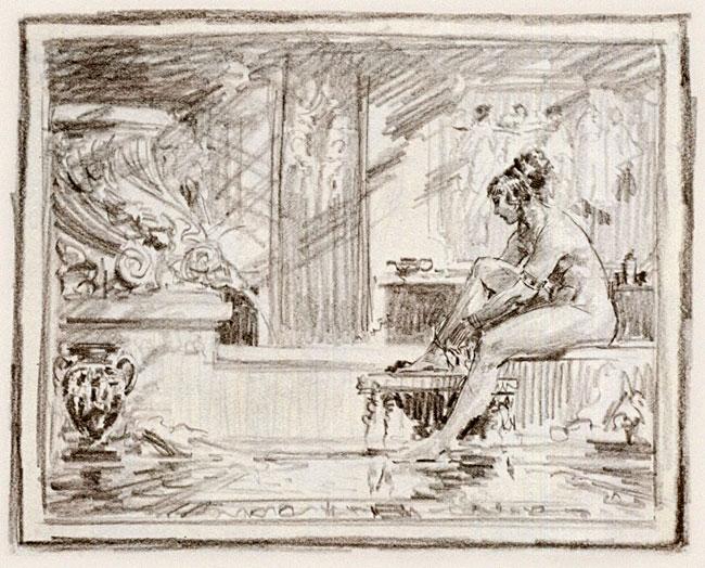 dibujo de mujer en baño romano