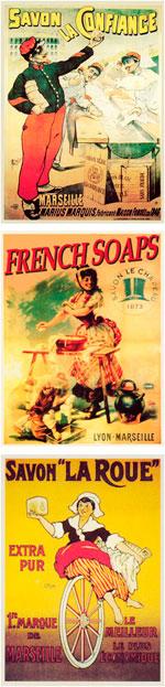 Posters antiguos de jabones de Marsella