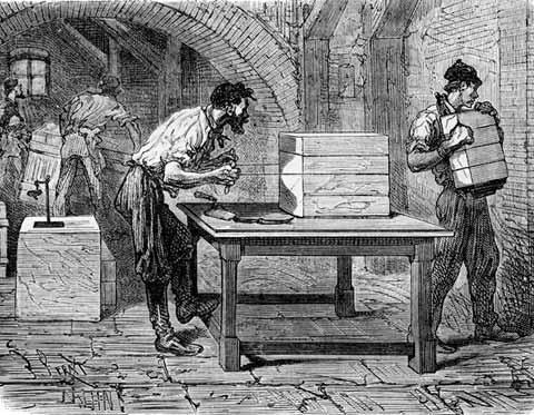 Grabado antiguo sobre el proceso de fabicación del jabón en Francia