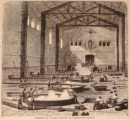 Grabado antiguo de fabricación de jabón en Marsella
