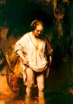 Pintura de mujer bañándose de Rembrandt